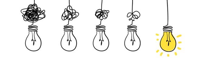 Doodle illustration of 5 light bulbs