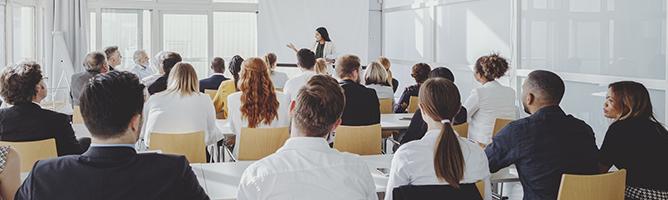 Businesswoman leading a seminar